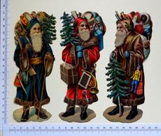 3 CHROMOS  DECOUPIS..GRAND FORMAT...... PÈRE NOEL 17  Cm...... JOUETS...HOTTE....SAPIN... - Motif 'Noel'