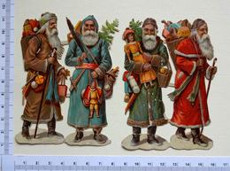 4 CHROMOS  DECOUPIS........ PÈRE NOEL...GROUPE DE 2 ATTACHES...... 11  Cm...... JOUETS...HOTTE.... - Motiv 'Weihnachten'