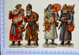 4 CHROMOS  DECOUPIS........ PÈRE NOEL...GROUPE DE 2 ATTACHES...... 11  Cm...... JOUETS...HOTTE.... - Motif 'Noel'