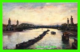 PARIS (75) - PONT ALEXANDRE III, LA NUIT - DES BARGES CIRCULENT - RAPHAEL TUCK & SONS -CIRCULÉE EN 1907 - - Paris By Night