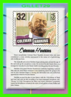 TIMBRES REPRESENTATIONS - COLEMAN HAWKINS(1904-1969) JAZZ SAXOPHONIST - LEGENDS OF AMERICAN MUSIC - STAMP ISSUE, 1995 - - Timbres (représentations)