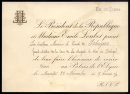1905 CONVITE Do Presidente França EMILE LOUBET Para CONDE De SABUGOSA Palais De L'Elysée. Timbre President Republique - Programmes