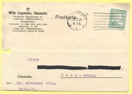 Deutsches Reich - 1925 - 5 Rheinland - Postkarte - Willy Lippmann - Viaggiata Da Chemnitz Per Gera - Germania