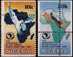 NIGERIA 1990 Postal Union SET:2 ERROR:perf. - UPU (Universal Postal Union)
