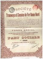 Action Ancienne - Société Des Tramways Et Chemins De Fer Rome Nord - Titre De 1913 - N°13838 - Chemin De Fer & Tramway