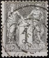 FRANCE Y&T N°83 Sage 1c Noir Sur Azuré Oblitéré - 1876-1898 Sage (Type II)