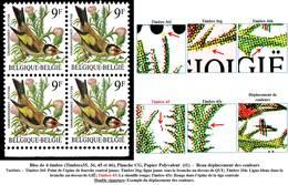 AB2190.060 - Bloc De 4 Timbres (35, 36, 45 Et 46), Planche C Ou G, Papier Polyvalen - 1985-.. Vögel (Buzin)