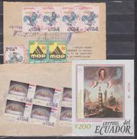 ECUADOR 1989 MONEY ORDERS (2) FRENCH REVOLUTION BICENTENARY MASSIVE CANCELLATION + S. SHEET MNH SC# 1212-1214 - Révolution Française
