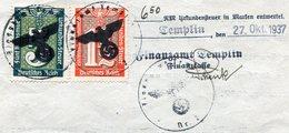 Germany 1937 Templin Documentary Tax Revenue 1 1/2+5 RM Urkundensteuer Gebührenmarke Fiscal Document Deutschland 3 Reich - Germany
