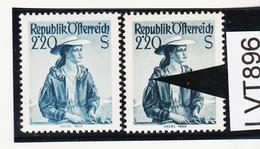 LTV896 ÖSTERREICH 1952 Michl 978 PLATTENFEHLER GINDL 9/1 FARBFLECK ÄRMEL ** Postfrisch - Abarten & Kuriositäten