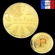 1 Pièce Plaquée OR ( GOLD Plated Coin ) - Bitcoin Anonymous Silk Road BTC - Monnaies