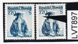 LTV897 ÖSTERREICH 1952 Michl 978 PLATTENFEHLER FARBSTRICH ** Postfrisch - Abarten & Kuriositäten