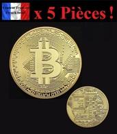 WHOLESALE REVENDEURS - Lot De 5 Pièces Plaquées OR - Bitcoin BTC - Monnaies