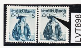LTV898 ÖSTERREICH 1952 Michl 978 PLATTENFEHLER GINDL 10/II WEISSER FLECK Im HAAR ** Postfrisch - Abarten & Kuriositäten