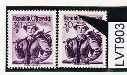 LTV903 ÖSTERREICH 1950 Michl 900 PLATTENFEHLER GINDL 21/II FARBPUNKT Ober I ** Postfrisch - Abarten & Kuriositäten