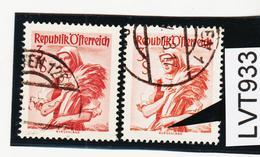 """LTV933 ÖSTERREICH 1949 Michl 922 III PLATTENFEHLER WEISSES """"V"""" Gestempelt - Abarten & Kuriositäten"""