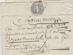 An 8- Lettre De 61/CALAIS ! Pas De Calais ) 39 X 13 Mm Noir  - Dénonciation De Déserteurs Auprès Du Gouvernement - Postmark Collection (Covers)