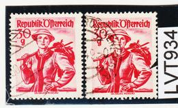 LTV934 ÖSTERREICH 1948 Michl 899 PLATTENFEHLER LOCH Im ÄRMEL Gestempelt - Abarten & Kuriositäten