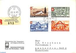 Switzerland 1945 Registered Letter From Bern To Amsterdam, (Postal History) - Svizzera