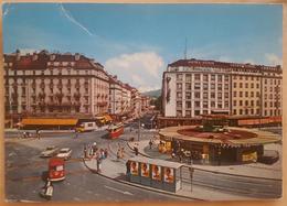GENEVE La Rue De Mont Blanc Et Le Mont Blanc - Tram Bus Cars Traffic Vespa Lucky Strike Campari Advertising  - Sent 1971 - GE Ginevra