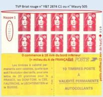 FRANCE - Carnet Numéro 009XX-1 - TVP Briat Rouge - YT 2874 C1 / Maury 505 - Carnets