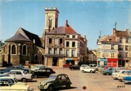 LA FERTE SOUS JOUARRE PLACE DE L'HOTEL DE VILLE ET EGLISE AVEC CITROEN 2CV - La Ferte Sous Jouarre