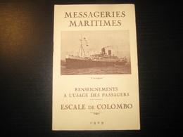 8207- 2018   LIVRET 1929 DES MESSAGERIES MARITIMES..PAQUEBOT D ARTAGNAN..DESTINATION COLOMBO - Bateaux