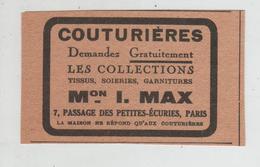 Couturières Maison Max Passage Des Petites Ecuries Paris 1940 - Werbung