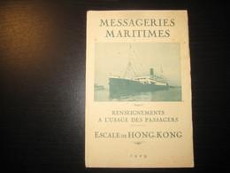 8208- 2018   LIVRET 1929 DES MESSAGERIES MARITIMES..PAQUEBOT ANGERS..DESTINATION HONG-KONG - Bateaux