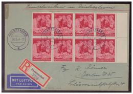 Dt.- Reich (006697) Einschreiben/ Luftpost- Mehrfachfrankatur MNR 871 (Rand Achterblock) Gelaufen Frenzensbad Am 6.3.44 - Briefe U. Dokumente