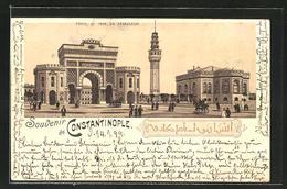 Lithographie Constantinople, Porte Et Tour Du Séraskérat - Turquie