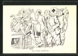 Künstler-AK Sign. J. Boulot: La Visite Médicale, Soldaten Beim Zahnarzt - Gesundheit