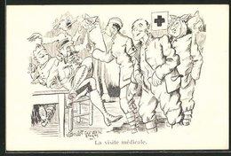 Künstler-AK Sign. J. Boulot: La Visite Médicale, Soldatenhumor, Zahnarzt - Gesundheit