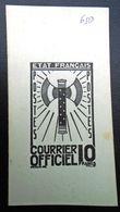 FRANCE 1942 - Timbre De Service  10f ,Yvert#13 , Maury#13 - Essai  En Noir - RARE ! - Officials