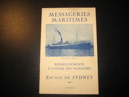 8213- 2018   LIVRET 1929 DES MESSAGERIES MARITIMES..PAQUEBOT COMMISSAIRE RAMEL..DESTINATION  ESCALE DE SYDNEY - Bateaux
