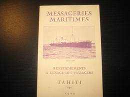 8215- 2018   LIVRET 1929 DES MESSAGERIES MARITIMES..PAQUEBOT ANDROMEDE..DESTINATION TAHITI - Bateaux