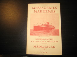 8216- 2018   LIVRET 1929 DES MESSAGERIES MARITIMES..PAQUEBOT EXPLORATEUR GRANDIDIER..DESTINATION MADAGASCAR - Bateaux