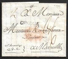 1789 - LAC LEVANTE - CONSTANTINOPLE Vers MARSEILLE Par GENOVA - LETTRE MARITIME - Marcophilie (Lettres)