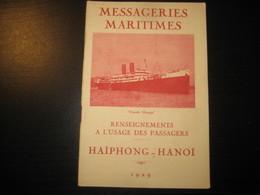 8217- 2018   LIVRET 1929 DES MESSAGERIES MARITIMES..PAQUEBOT CLAUDE CHAPPE..DESTINATION HAIPHONG-HANOI - Bateaux
