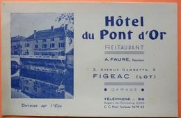 CARTE COMMERCIALE ANCIENNE - HOTEL DU PONT D' OR - FIGEAC - 46 - SCAN RECTO/VERSO - Cartes De Visite
