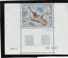 B5 - TAAF PA100** MNH De 1987 - Carte De L' ÎLE Des PINGOUINS CROZET. Grand Coin De Feuille Daté. - Terres Australes Et Antarctiques Françaises (TAAF)