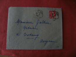 Aveyron Campuac Recette Auxiliaire Sur Lettre - Marcophilie (Lettres)
