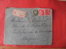 Aveyron  Recommande Loupiac Facteur Boitier Obliteration Sur Lettre - Marcophilie (Lettres)