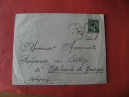 Aveyron Combes Recette Auxiliaire Obliteration Sur Lettre - Marcophilie (Lettres)
