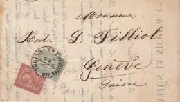 LETTRE ITALIE. 5 APR 66. MYLLIUS LA NICCA & C° TORINO POUR GENEVE - 1861-78 Victor Emmanuel II