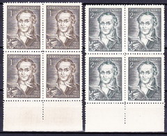 ** Tchécoslovaquie 1952 Mi 753-4 (Yv 661-2) Blocs De 4, (MNH) - Tschechoslowakei/CSSR