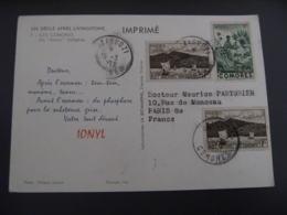 Comores  Carte Medicament Ionyl 3 Timbres - Komoren (1950-1975)