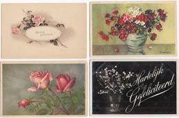 6 Ansichten:  'Hartelijk Gefeliciteerd' ( 1917 - 1970) - Bloemen - Verjaardag