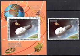 Manama  Block + Marke   Mercury Raumschiff - Raumfahrt
