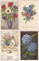 7 Ansichten:  'Hartelijk Gefeliciteerd' - Bloemen - (Holland) - Verjaardag